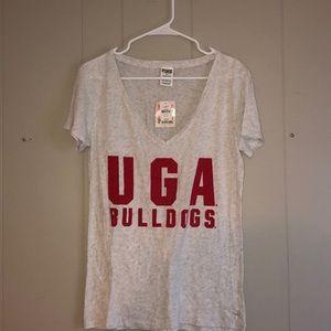 NWT Pink Victoria's Secret UGA Bulldogs Tee. Large